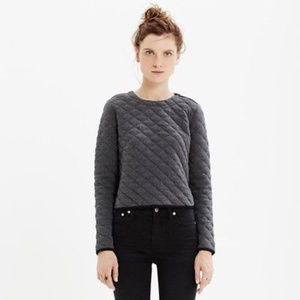 Madewell M Charcoal gray Quilted Top Sweatshirt